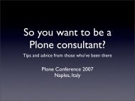 So you want to be a Plone consultant - presentation ... - CoActivate