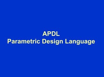 APDL Parametric Design Language