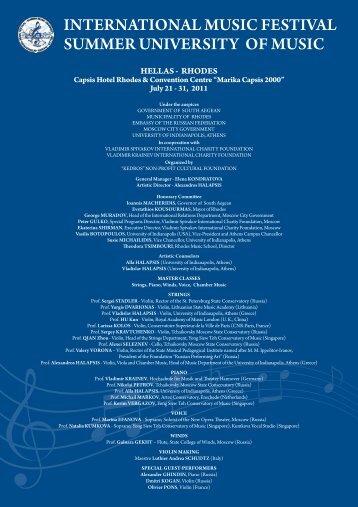 INTERNATIONAL MUSIC FESTIVAL SUMMER UNIVERSITY OF ...