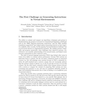 The First Challenge on Generating Instructions in Virtual Environments