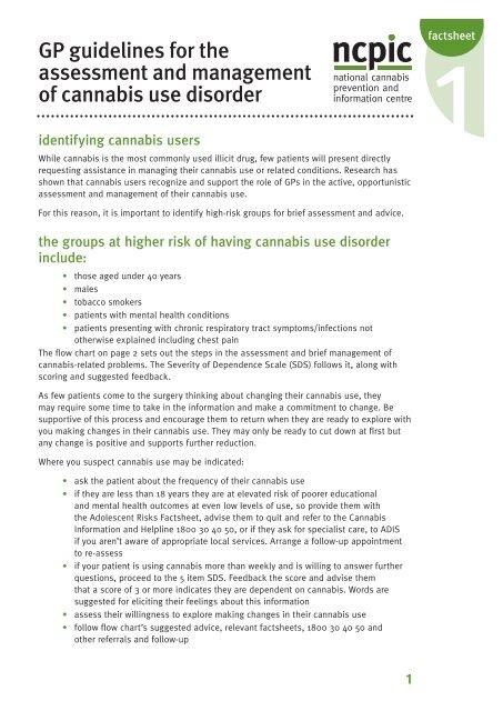 GP guidelines for the assessment and management of cannabis use