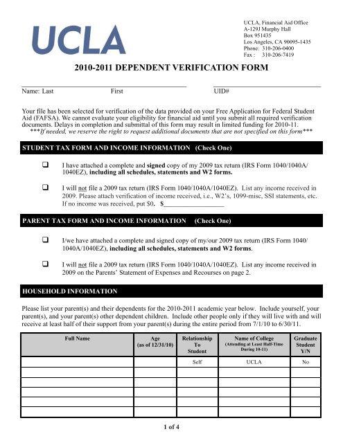 w2 form ucla  10-10 dependent verification form - UCLA Financial Aid ...