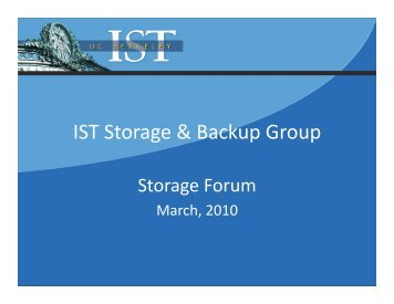IST Storage & Backup Group - Information Services and Technology