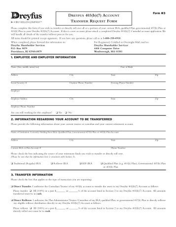 Dreyfus Ira Transfer Request Form