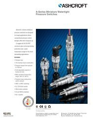A-Series Miniature Watertight Pressure Switches - Ashcroft