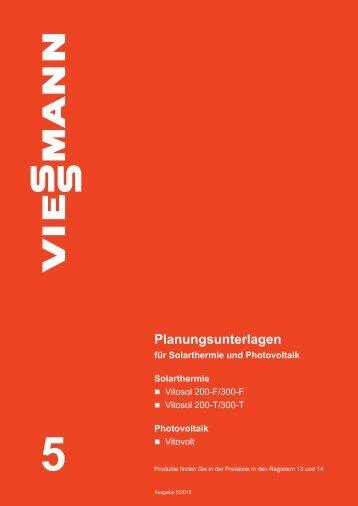 Planungsunterlagen für Solarthermie und Photovoltaik - Viessmann