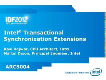 session ARCS004 - Intel® Developer Zone