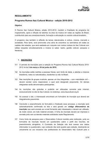 REGULAMENTO Programa Rumos Itaú Cultural Música – edição ...