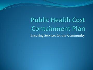 Public Health Cost Containment Plan - Craven County Government
