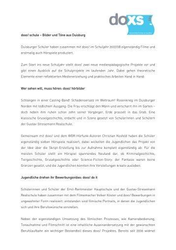 Download Pressemeldung 27. August 2008, PDF - Duisburger ...
