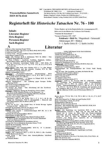 Registerheft fuer Historische Tatsachen Nr. 76-100