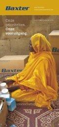 Onze prioriteiten. Onze vooruitgang. - Baxter Sustainability Report