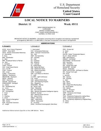 Local Notice To Mariners Week #05 - Dana Point Boaters Association