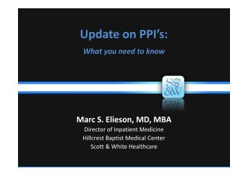 Update on PPI's: - Healthcare Professionals