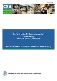 Document FAO 2009 sur la réforme du CSA