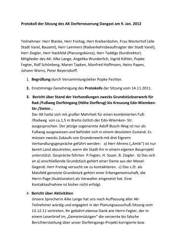 Protokoll vom 09.01.2012 - Stadt Varel