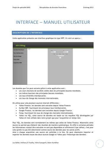 INTERFACE – MANUEL UTILISATEUR - Ensiwiki - Ensimag