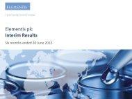 Elementis plc Interim Results