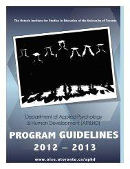 AP&HD Program Guidelines - Ontario Institute for Studies in ...