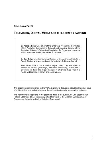television, digital media and children's learning - Victorian ...