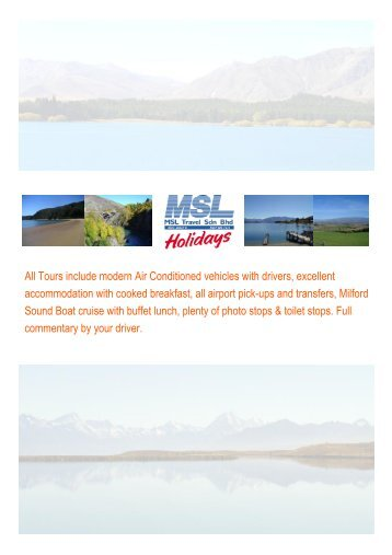 New Zealand Escorted Tours for small groups 2013 - msltravel.com