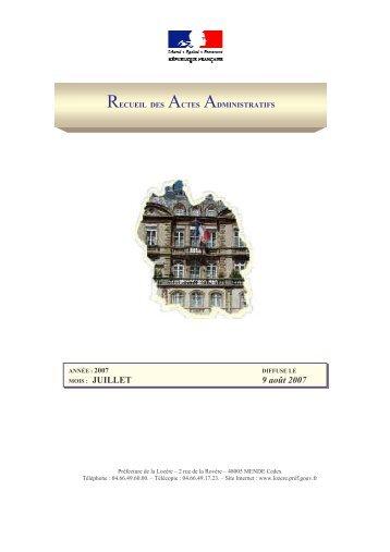 RECUEIL DU MOIS DE JUILLET 2007.pdf - Préfecture de la Lozère