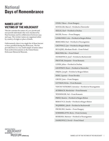Names List3.indd -  United States Holocaust Memorial Museum