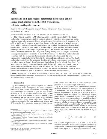 Seismically and geodetically determined nondouble-couple source ...