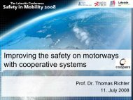 Improving the safety on motorways with cooperative systems