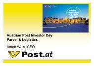 Austrian Post Investor Day Parcel & Logistics Anton Wais, CEO