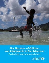 The Situation of Children and Adolescents in Sint ... - Pers - Unicef