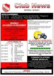 round 8 11/12/2010 - Preston Athletic Club Inc