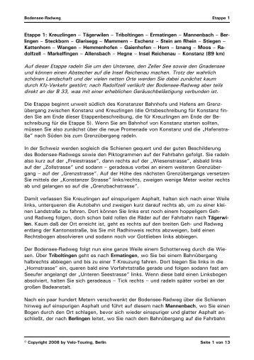 Etappe 1: Kreuzlingen – Tägerwilen – Triboltingen ... - Velo-Touring