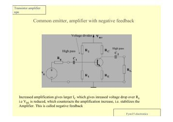 Common emitter, amplifier with negative feedback