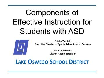 Components of Effective Instruction for Students with ASD - Cosa