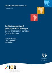 Budget support and policy/political dialogue Donor practices in ...