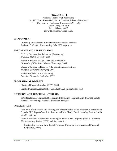 Curriculum Vitae Edward Li University Of Rochester