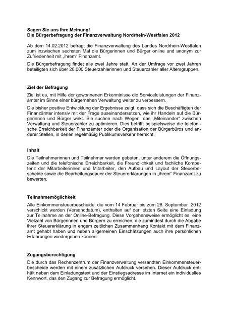 Weitere Informationen - Finanzministerium NRW