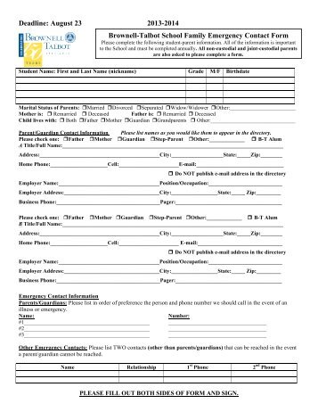 Emergency Contact Forms | Student Emergency Contact Card