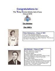 Valley Central Athletic Hall of Fame - Valley Central School District