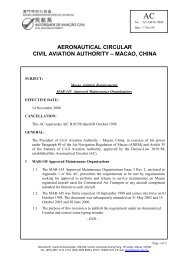 Macao Aviation Requirements MAR-145 Approved Maintenance ...
