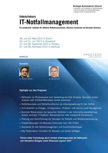 Intensivkurs IT-Notfallmanagement - Vereon AG