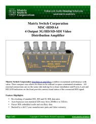 Matrix Switch Corporation MSC-HDDA4 4 Output 3G/HD/SD-SDI ...