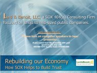 Rebuilding our Economy How SOX Helps to Build ... - Lord & Benoit