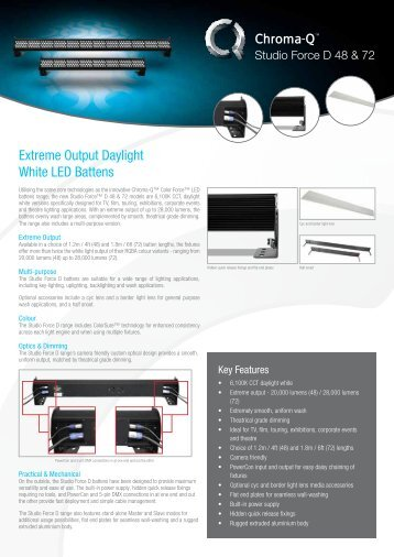 Extreme Output Daylight White LED Battens - Chroma-Q
