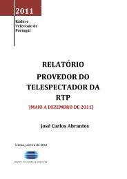RELATÓRIO PROVEDOR DO TELESPECTADOR DA RTP