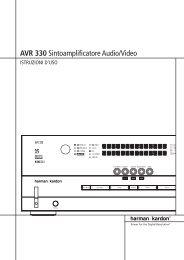 AVR 330 Sintoamplificatore Audio/Video - Aerne Menu