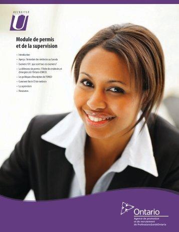 Module de permis et de la supervision - HealthForceOntario