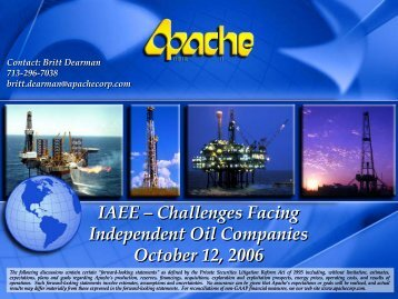 IAEE – Challenges Facing Independent Oil Companies October 12 ...