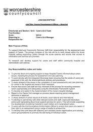 JOB DESCRIPTION Job Title: Carers Development Officer ...